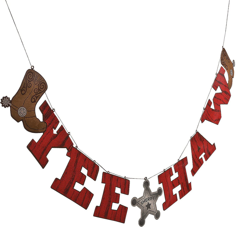 Fun Express - Cowboy Words Hanging Garland for Birthday - Party Decor - Hanging Decor - Garland - Birthday - 1 Piece