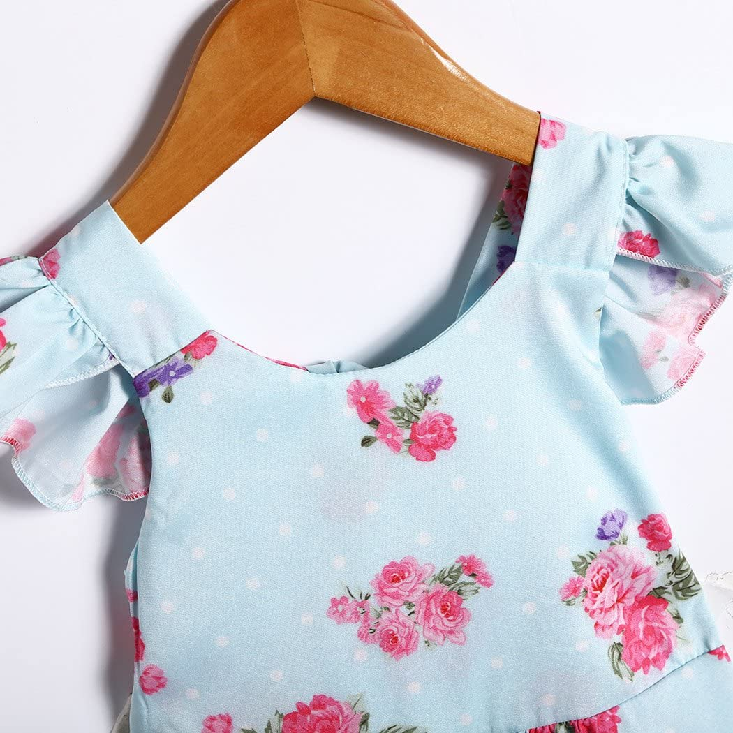 XWB Infant Toddler Baby Girls Floral Princess Dress Ruffled Sleeves Self-Tie Bowknot Backless Mini Tutu Sundress
