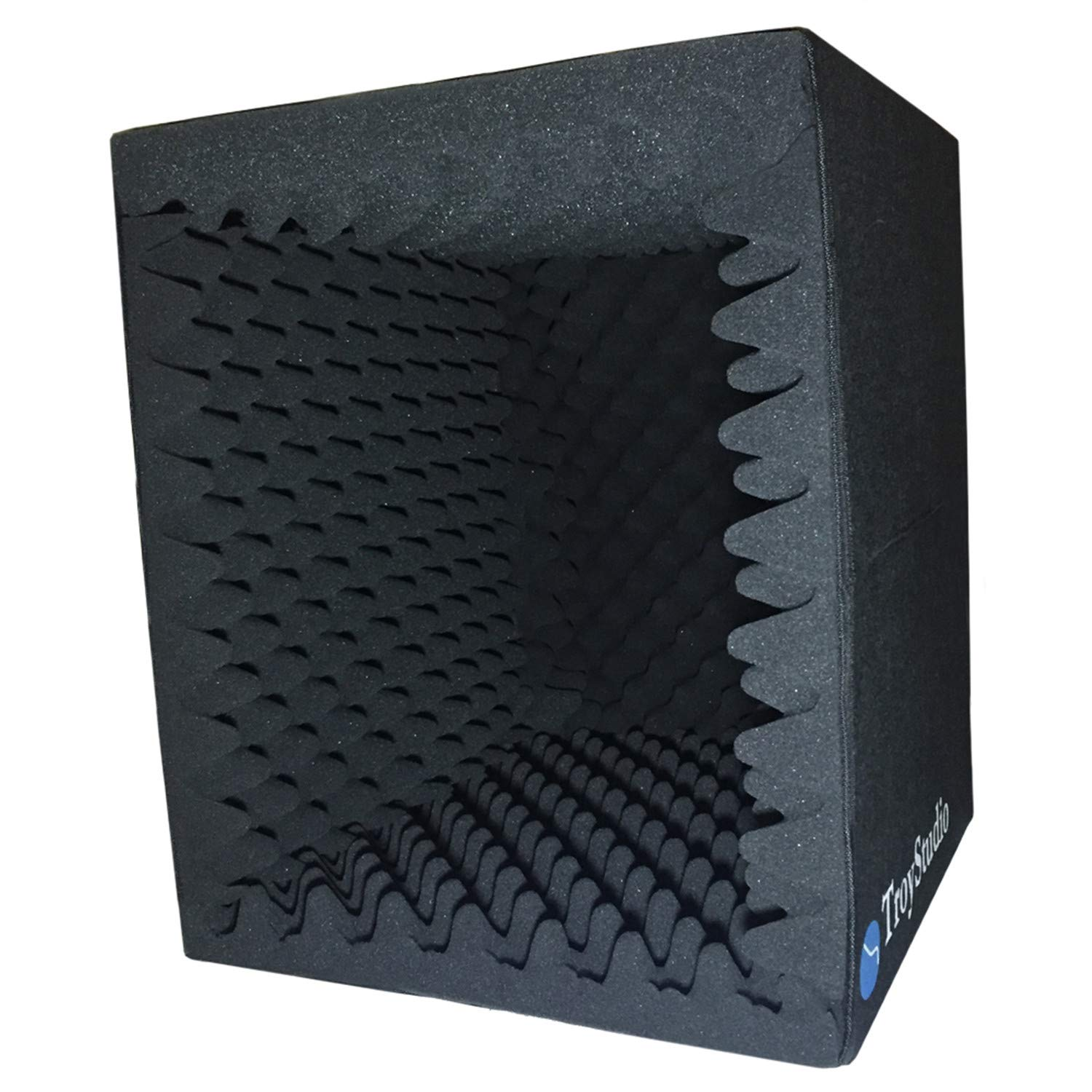 TroyStudio Portable Sound Recording Vocal Booth Box - |Reflection Filter & Microphone Isolation Shied| - |Large, Foldable, Stand Mountable, Super Dense Sound Absorbing Foam|(Black)