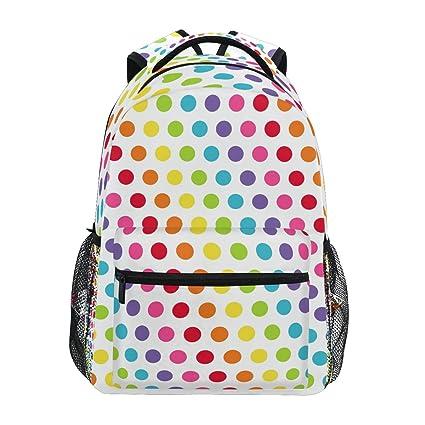 Amazon.com: ZZKKO Colorful Rainbow Polka Dots Backpacks College ...