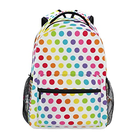 6e818a3083ac Image Unavailable. Image not available for. Color  ZZKKO Colorful Rainbow  Polka Dots Backpacks College ...