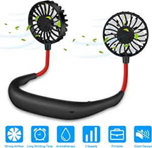 Around Neck Fan Portable, Hands Free Personal iköer Fan Necklace USB Rechargeable with Dual Cooling Wind Head Fan for Office Sport Outdoor Traveling and More (Black)