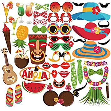 BTTBEST Accesorios Hawaianos Photo Booth para Decoraciones Fiesta Hawaiana - 45Count: Amazon.es: Hogar