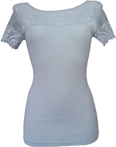 JANIRA, Camiseta Lencera M/C Greta,(L), Gris Silver: Amazon ...