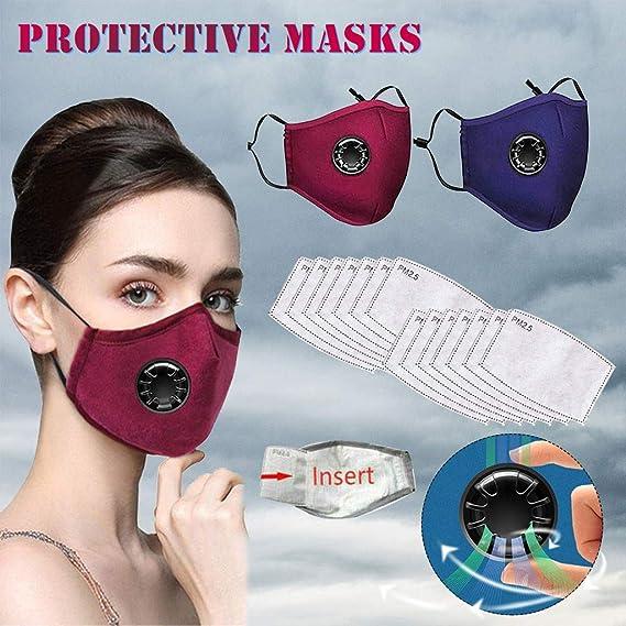 Protector facial transpirable para ciclismo con filtro y v/álvulas dobles XUXN a prueba de polvo reutilizable