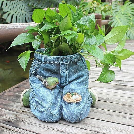 XYHF Jeans Resina Maceta Jardín Estatua Vintage En Maceta Hogar Arreglo Floral Contenedor Jardinería Decoración Artesanía: Amazon.es: Hogar