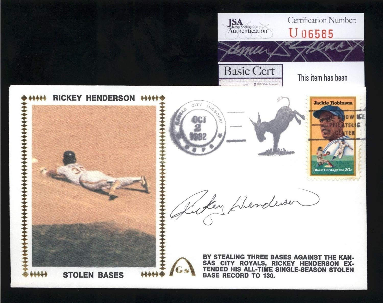 Rickey Henderson A'S Hof Autographed Signed Stolen Base Gateway Cachet Fdc Cover JSA Coa