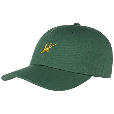 ad812641037 HUF Script Curved Brim Strapback Cap Base (One Size - Dark Green)   Amazon.co.uk  Clothing