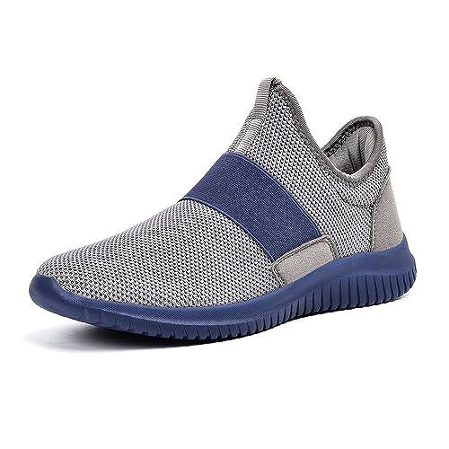 ZOCAVIA Scarpe Sportive da Uomo Sneakers Senza Lacci per Correre(Grigio/Bianco,47 EU)