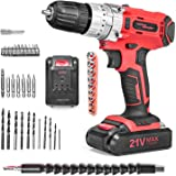 SALEM MASTER Cordless Drill Driver, 21V MAX Impact Hammer Drill Set with 3/8-Inch Metal Chuck, Variable Speed, 27pcs Accessories, 2pcs 1.5Ah Battery Pack, Compact Drill for Drilling Wall, Wood, Metal