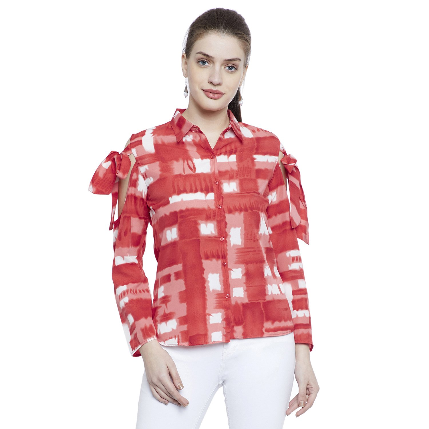 754771d4e39ac9 Fabulous Me Women s Crepe Cold Shoulder with Tie up Sleeve Top (Red)   Amazon.in  Clothing   Accessories