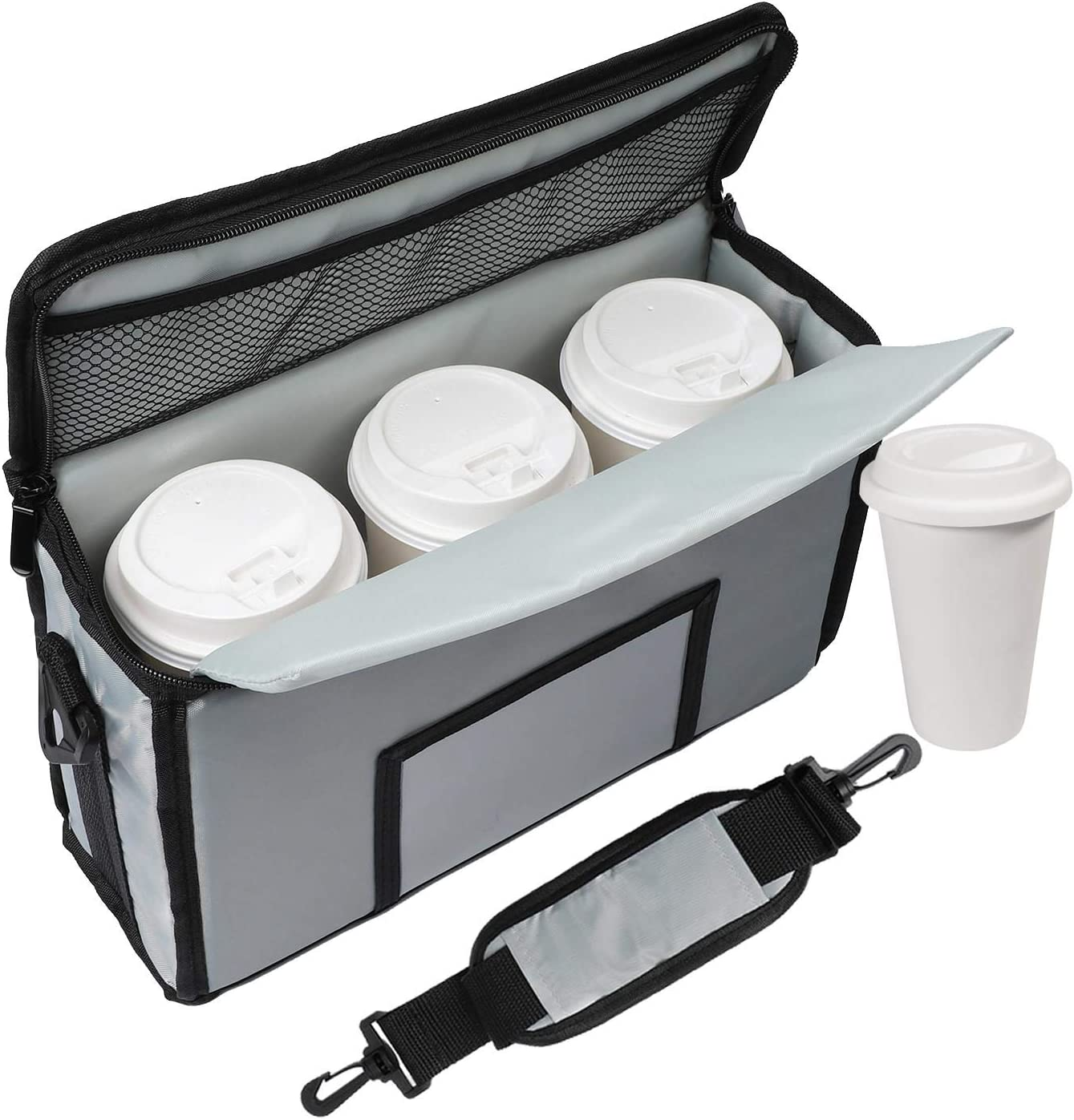 cherrboll Insulated Drink Carrier - Portable Coffee Cup Holder with Shoulder Strap & Handle - Reusable Drink Caddy Bag Holds 3 Cups - Perfect for Food Delivery, Picnic