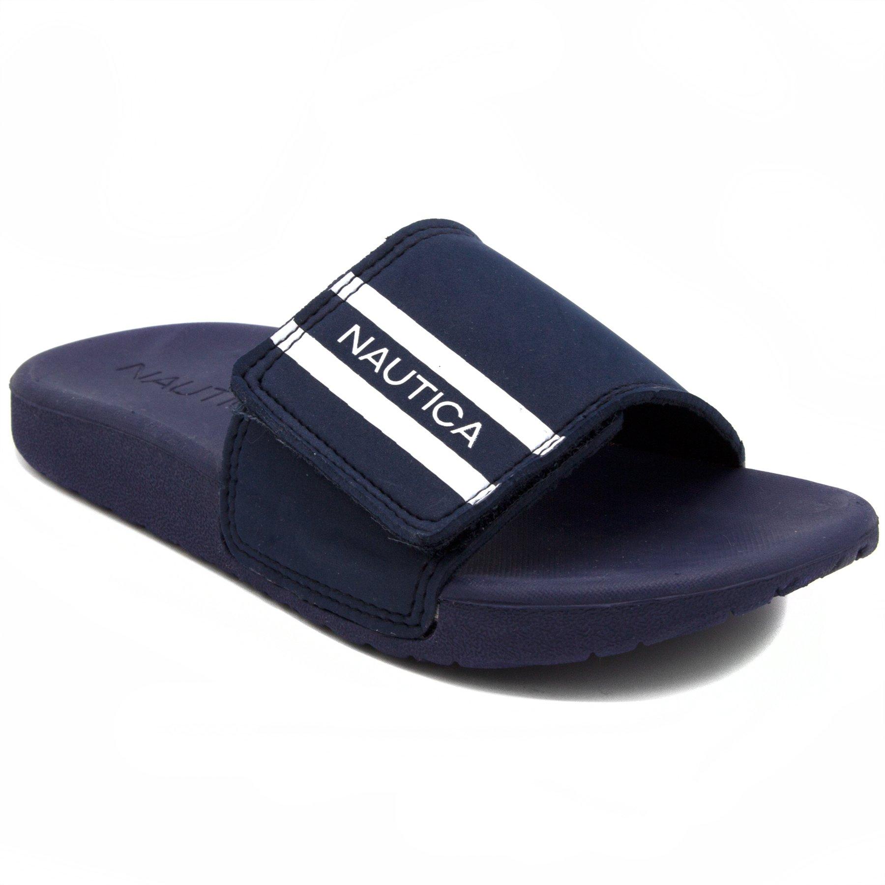Nautica Kids Slip-On Sandal Athletic Slide-Cecil-Navy/White-5