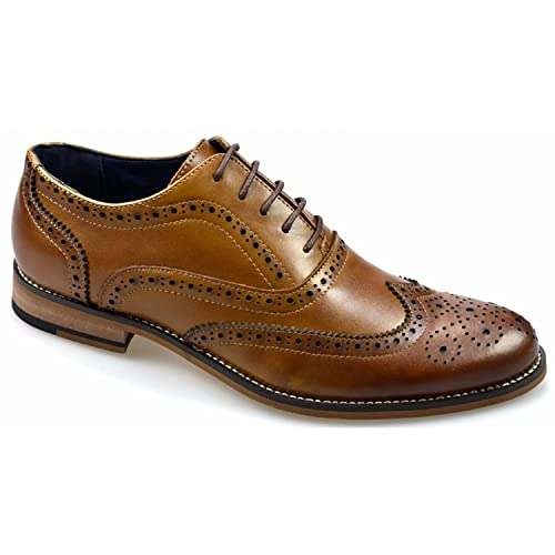Cavani Oxford Real Leather Tan Gatesby Brogues Casual Designer Retro Shoes   Amazon.co.uk  Shoes   Bags 57efb83e8
