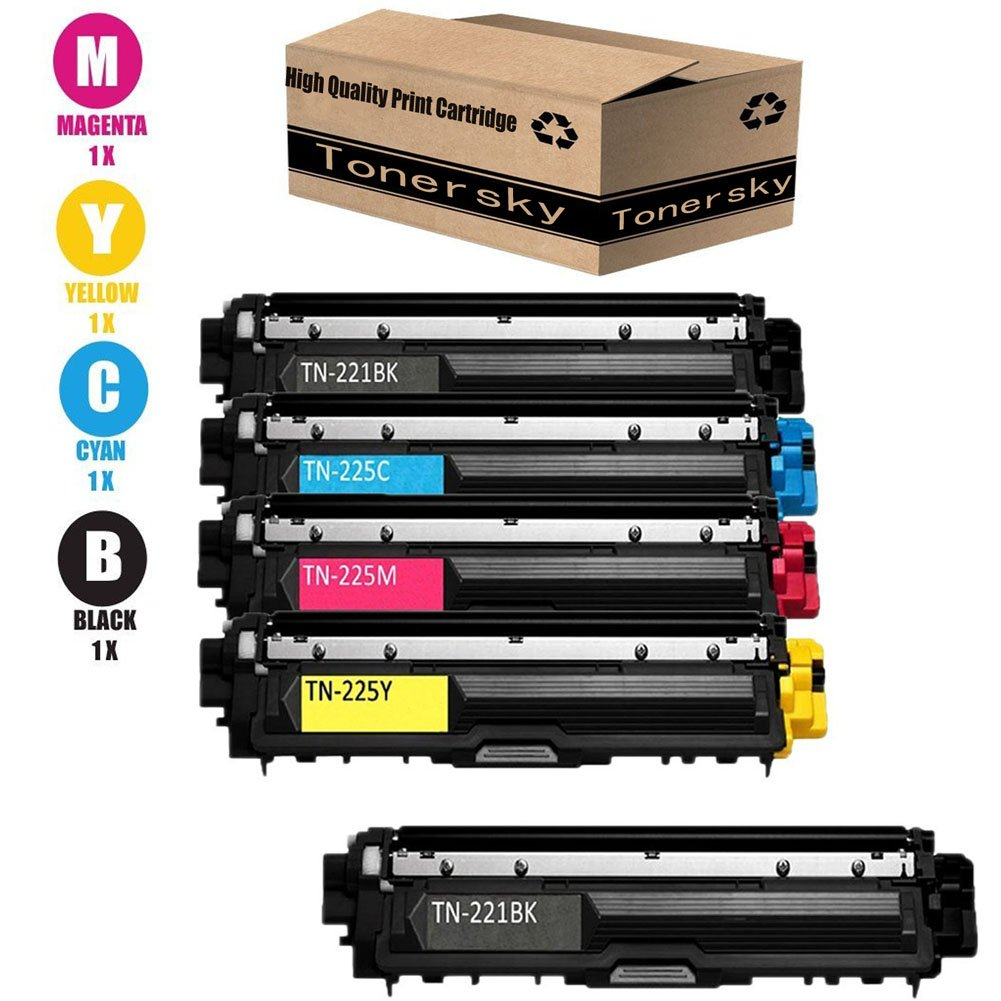 Tonersky Brother Compatible TN221 / TN225 Toner Cartridge 5-Pack Value Bundle (2 Black 1 Cyan 1 Magenta 1 Yellow) for Brother HL-3170CDW