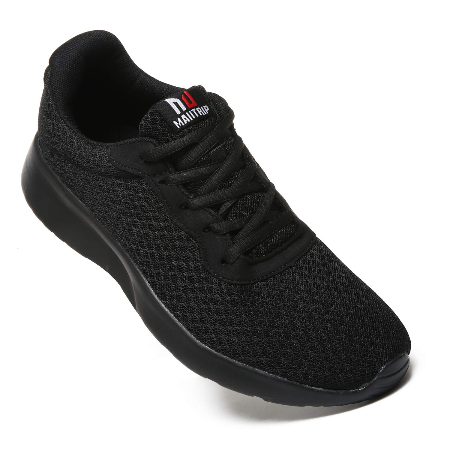 MAITRIP Mens Gym Shoes,Athletic Running Shoes,Lightweight Breathable Mesh Casual Tennis Sports Workout Walking Sneakers,All Black,Size 7