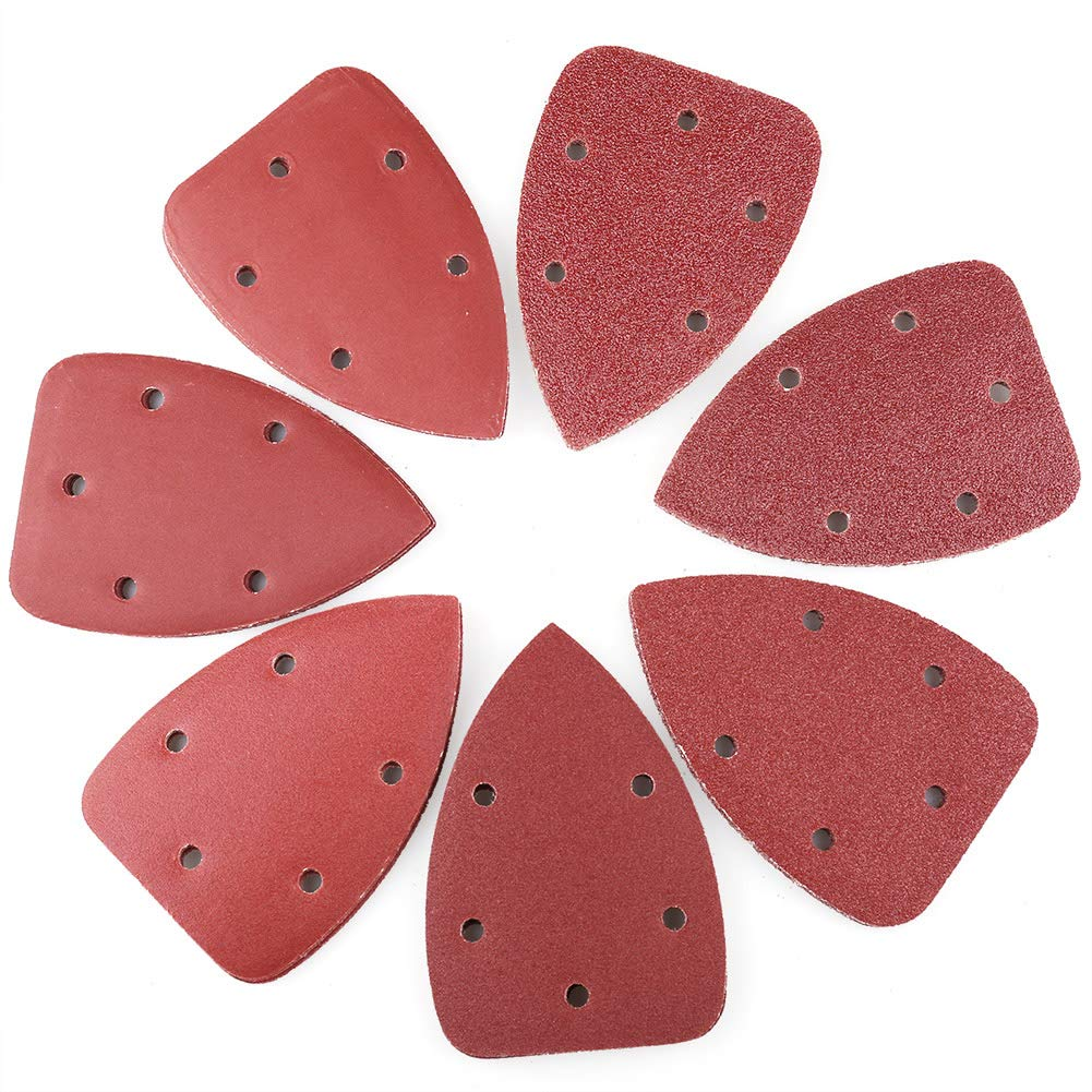 Detail Sander Sandpaper Sanding Sheets by LotFancy 70PCS Assorted 40 60 80 120 180 240 320 Grit Sanding Pads 5 Holes 140mm