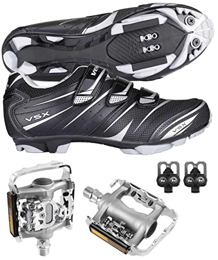 61ab27862c13b4 Venzo Mountain Bike Bicycle Cycling Shimano SPD Shoes + Multi-Use Pedals 37
