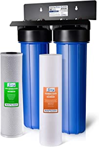 iSpring WGB22B 2-Stage 20 Big Blue Whole House Water Filter 1-Inch NPT Carbon