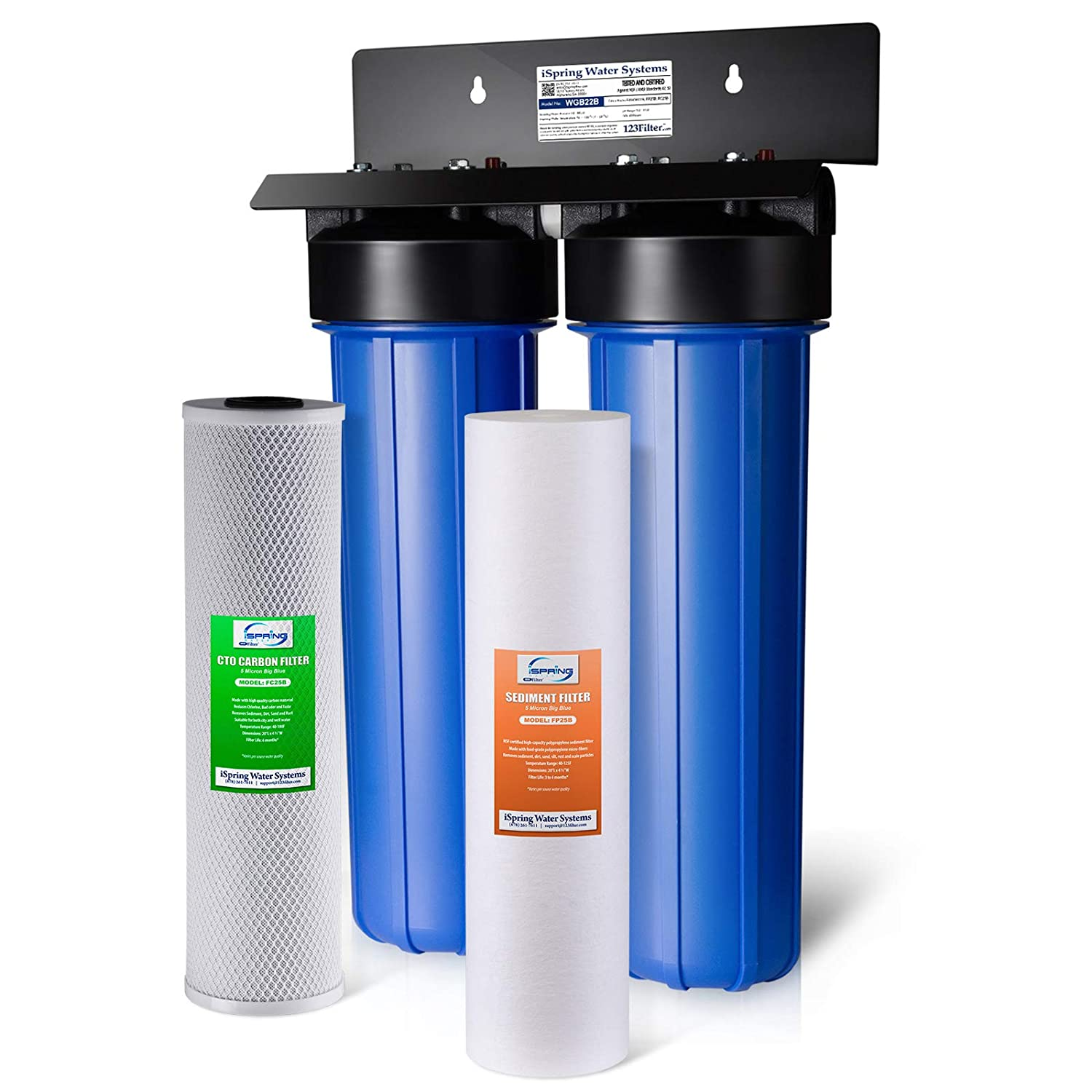 "Spring WGB22B 2-Stage 4.5"" x 20"" Whole House Water Filtration System Big Blue with Fine Sediment and Carbon Block Filters"
