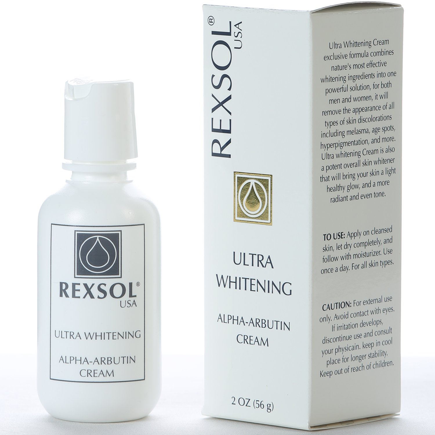 REXSOL Ultra Whitening Alpha Arbutin Cream | With Vitamin C | Fade Dark Spots, Freckles, Hyper-pigmentation, Melasma, Discolorations, and more.(56 gr/2 fl oz)