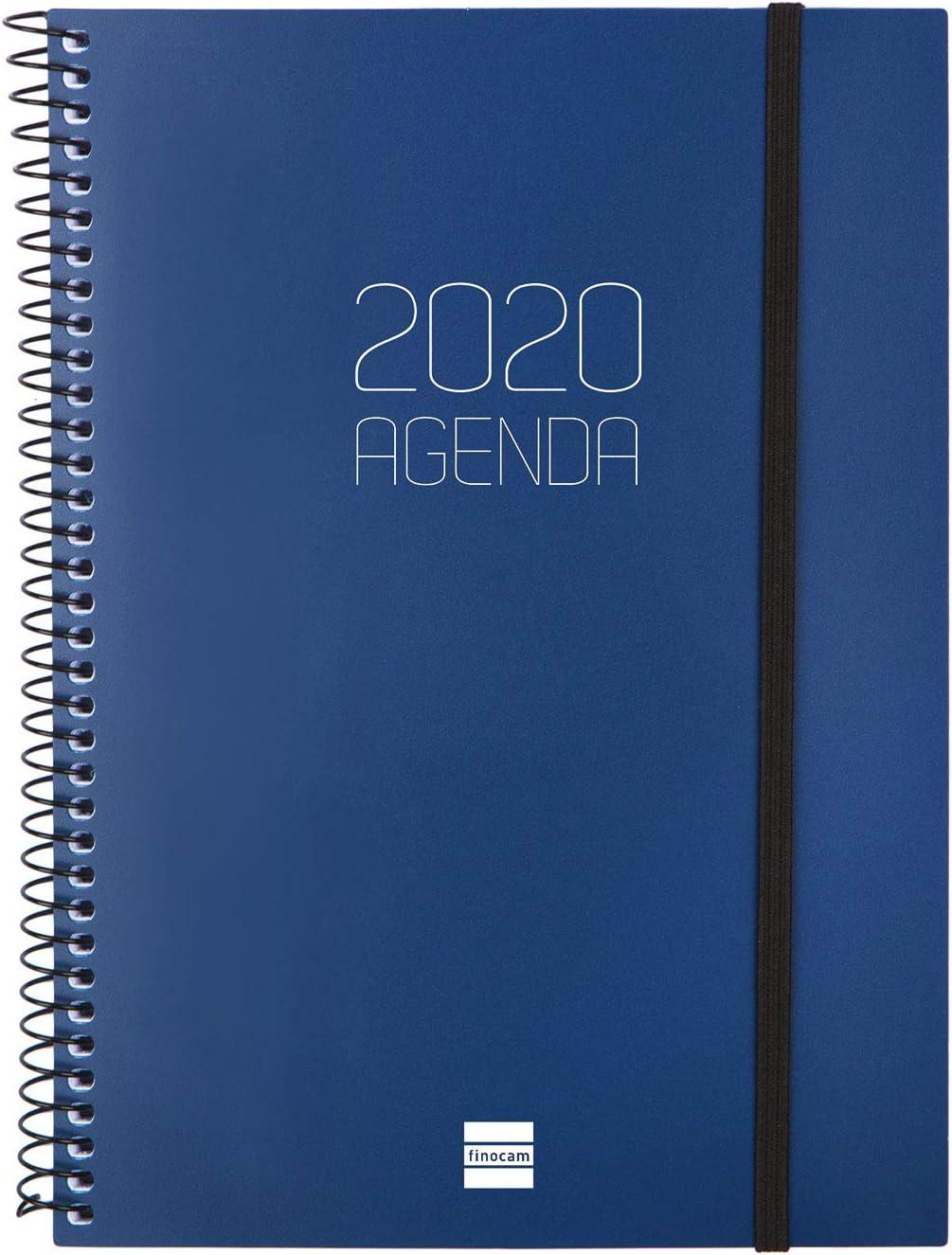 Finocam - Agenda 2020 semana vista apaisada Espiral Opaque Azul español