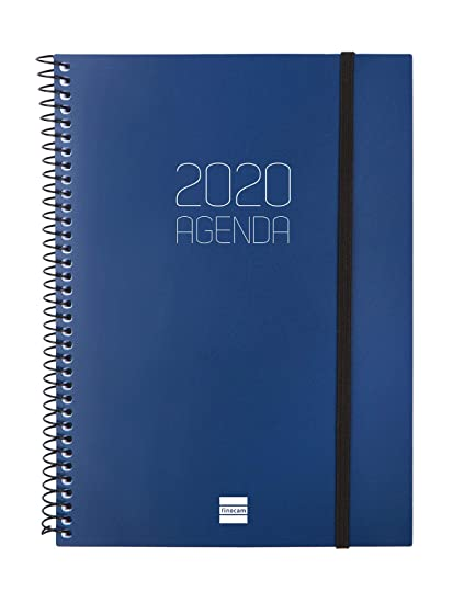 Finocam - Agenda 2020 semana vista vertical Espiral Opaque Azul español