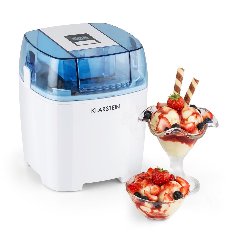 Klarstein Creamberry gelatiera macchina per sorbetti frullati (100W, contenitore termico 1,5l, cestello ghiaccio, display digitale, basso consumo energetico) - bianco