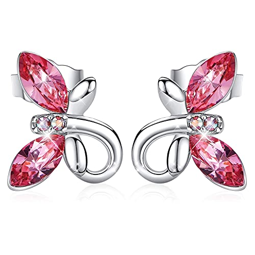 CDE Jewelry Earrings for Women Hypoallergenic Girls Butterfly Stud Earrings Embellished with Crystals from Swarovski with S925 Sterling Silver Needle