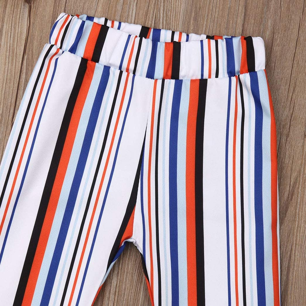 Aaaaamber Toddler Baby Kids Girls Horn Trousers High-Waisted Striped Pants Summer Spring Bottom Outfit 1-6T