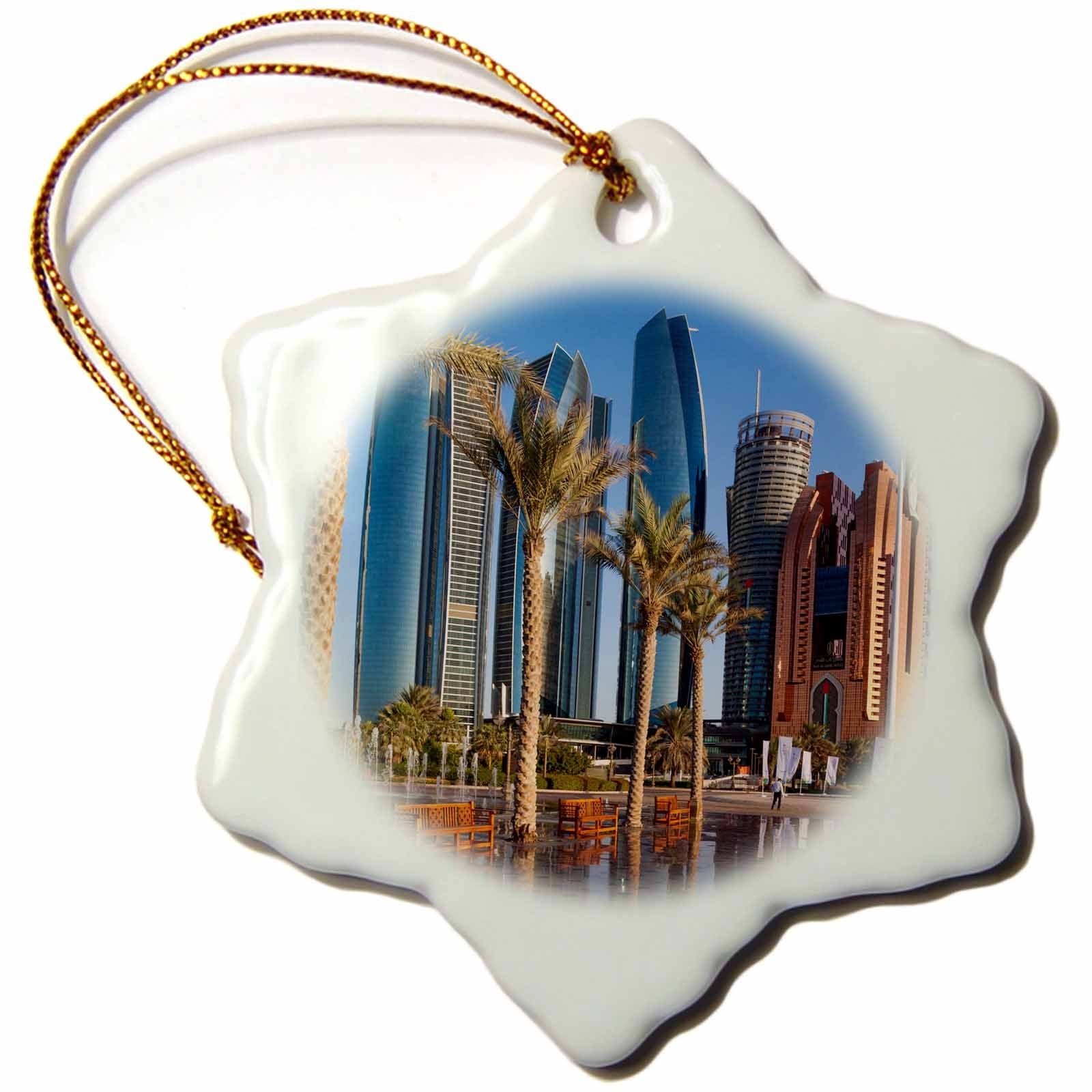 3dRose Danita Delimont - Cities - UAE, Abu Dhabi. Etihad Towers and Emirates Palace Hotel fountains - 3 inch Snowflake Porcelain Ornament (orn_277135_1)