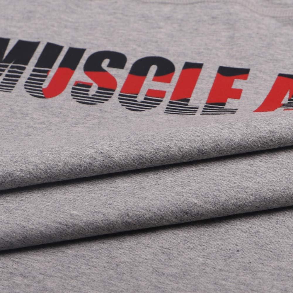 Uomo Essenziale Muscolo Senza Maniche Maglietta con Equipaggio Collo per Bodybuilding Canotte Camicie Cotone