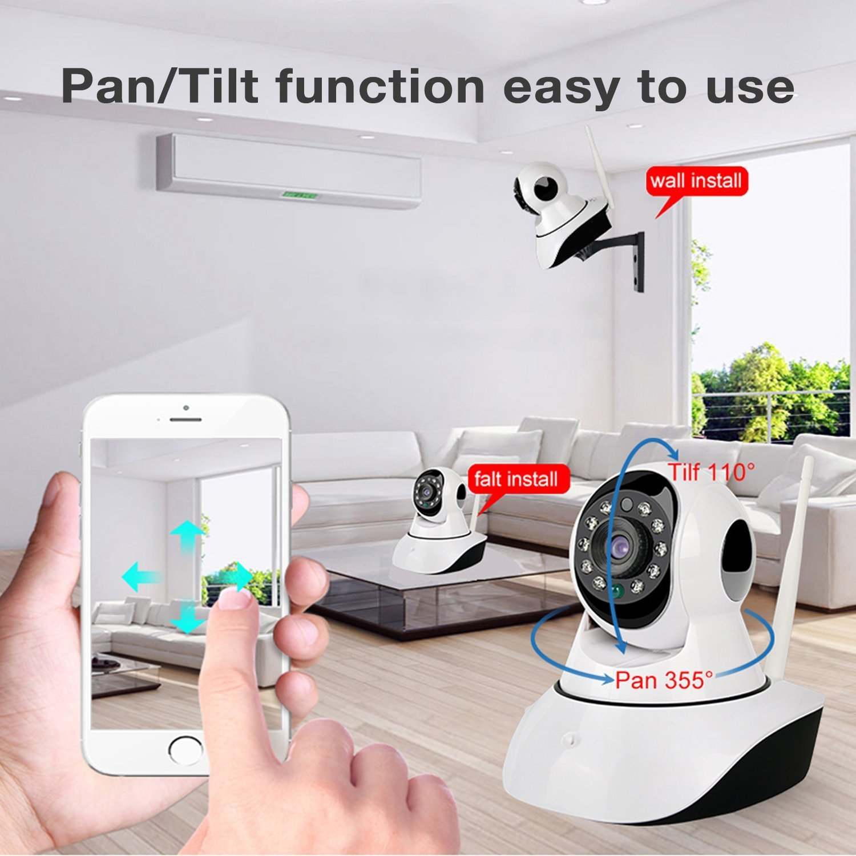 PLV HD 720P Cámara IP Interior WiFi Pan Tilt PTZ Vias Audio P2P Android/iOS APP IR-CUT Visión Nocturna Detección de Movimiento Email Alarma para CCTV: ...