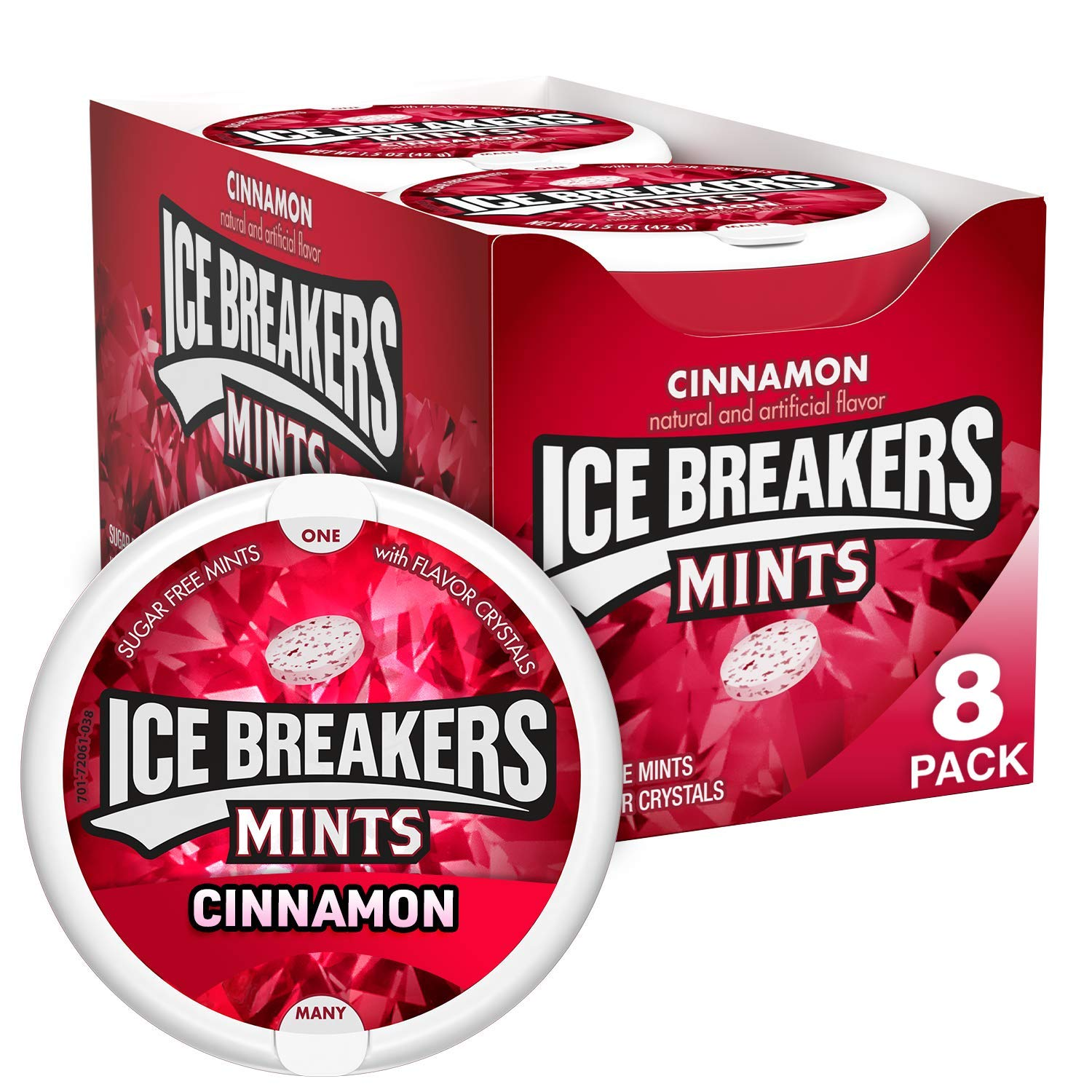 ICE BREAKERS Cinnamon Flavored Sugar Free Breath Mints, Bulk Mint Candy, 1.5 oz Container (8 ct)