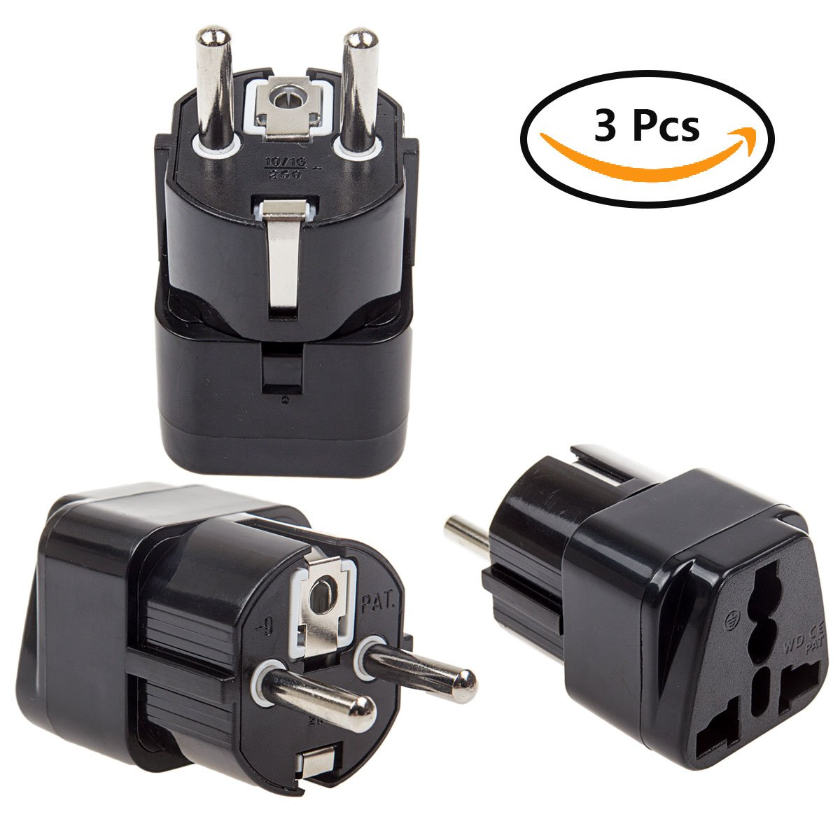 LANIAKEA US to EU / UK / Italy / Germany / France Plug Adapter for Travel, 3Prong Plug Converter, Grounded Universal type, 4Pcs SilkRoad Direct