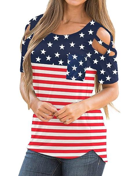 e8d6f216bec8f LookbookStore Women s American Flag Multicolor Casual Crisscross Cold  Shoulder Short Sleeve Basic T-Shirt Blouse