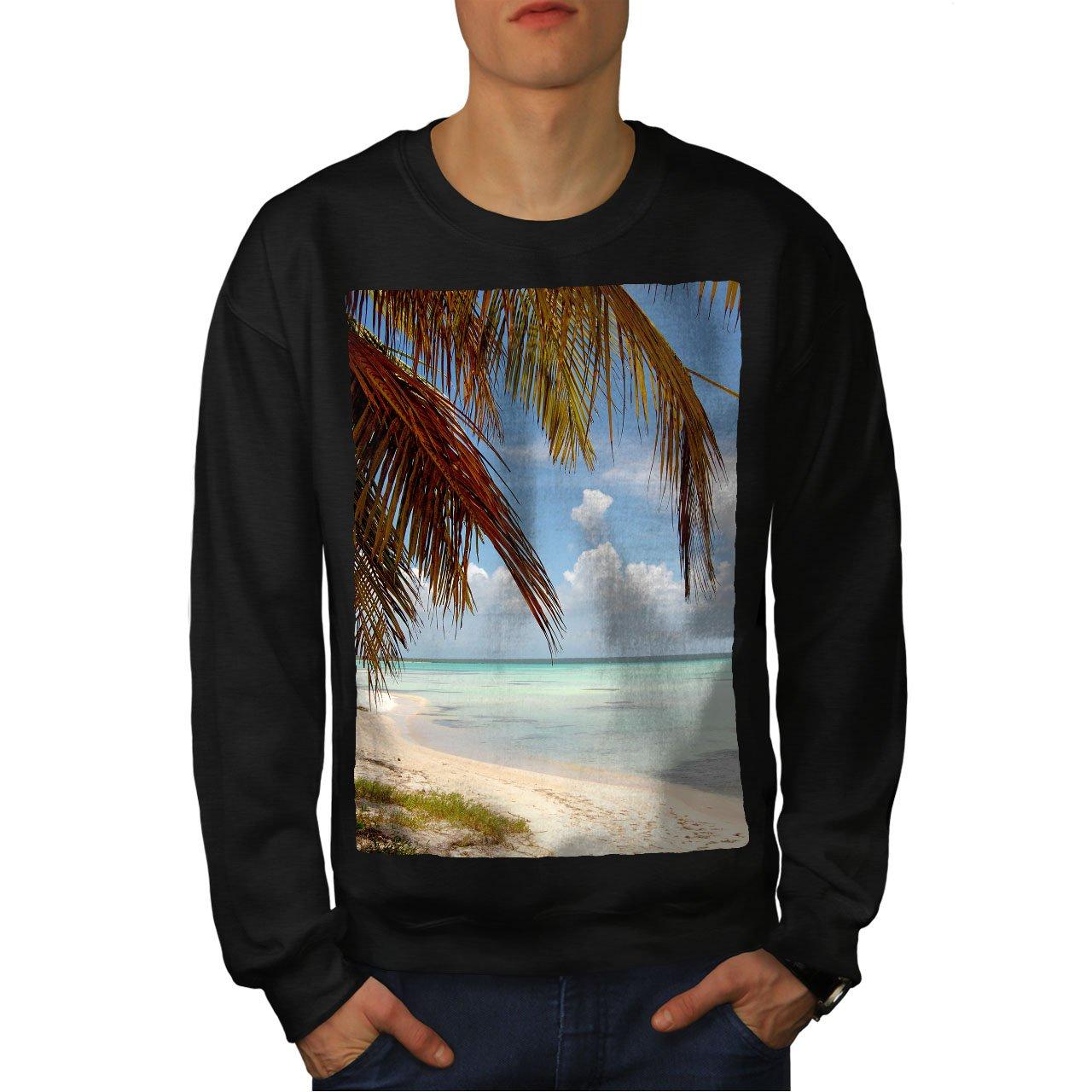 wellcoda Sunny Sandy Beach Mens Sweatshirt Palm Trees Casual Jumper