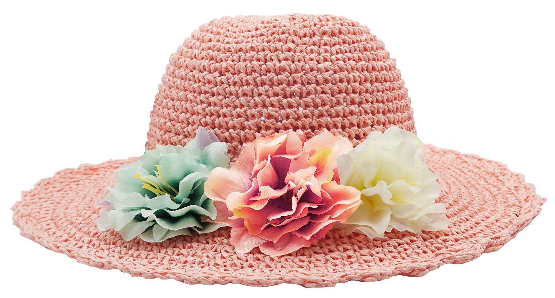 Bienvenu Girl Kids Summer Wide Brim Floppy Beach Sun Visor Hat with Flowers, Pink