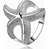 Hot Style Noble Jewelry 925 Silver Plated Fashion Women Ring Wide Net With Two Hearts Size 8