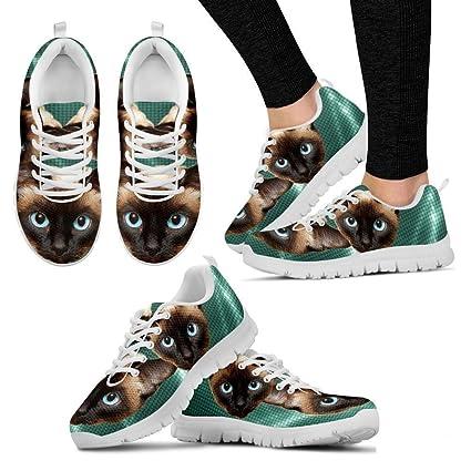 adcb6cbdc5d1e Amazon.com : Siamese Cat Print Running Shoes - Cat Lovers Gifts ...