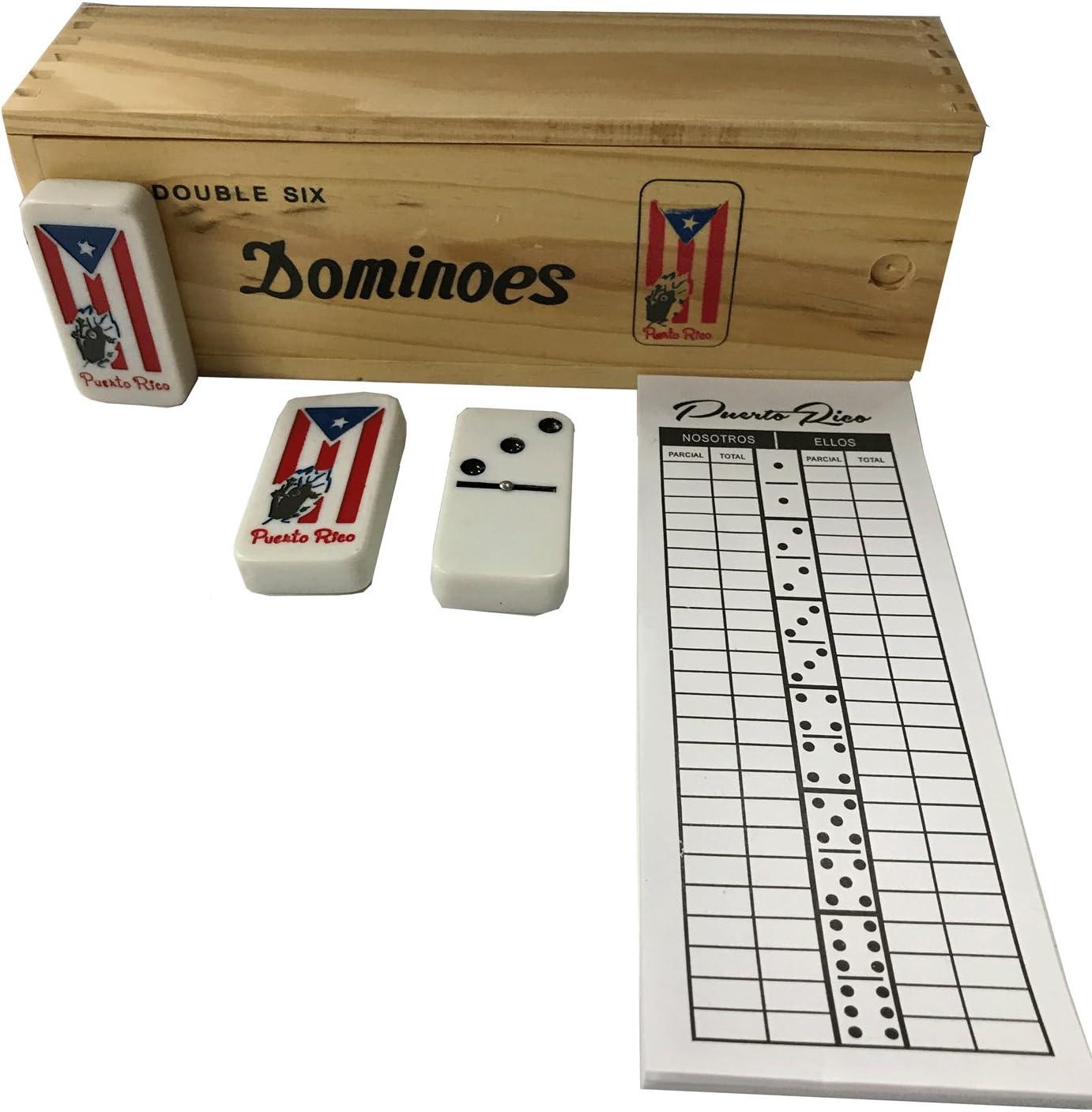 Puerto Rico Domino Set Jumbo Size Coqui Flag Includes Score pad