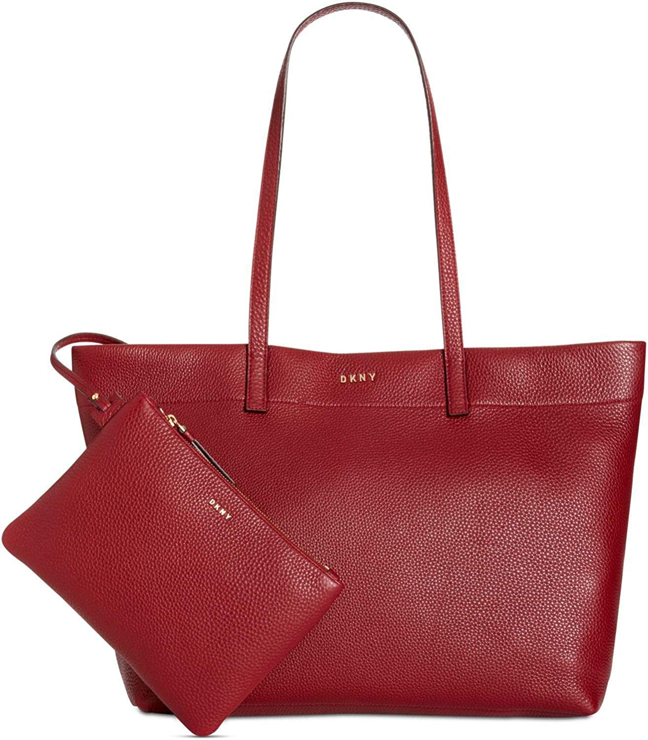 DKNY Womens Deerskin Leather Extra Large Open Tote Scarlet (Red)