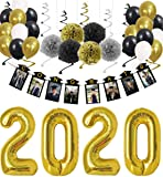 Graduation Party Supplies Decorations 2020, Black And Gold Congrats Photo Banner With Balloons Set For College Graduation Decor, Class Of 2020