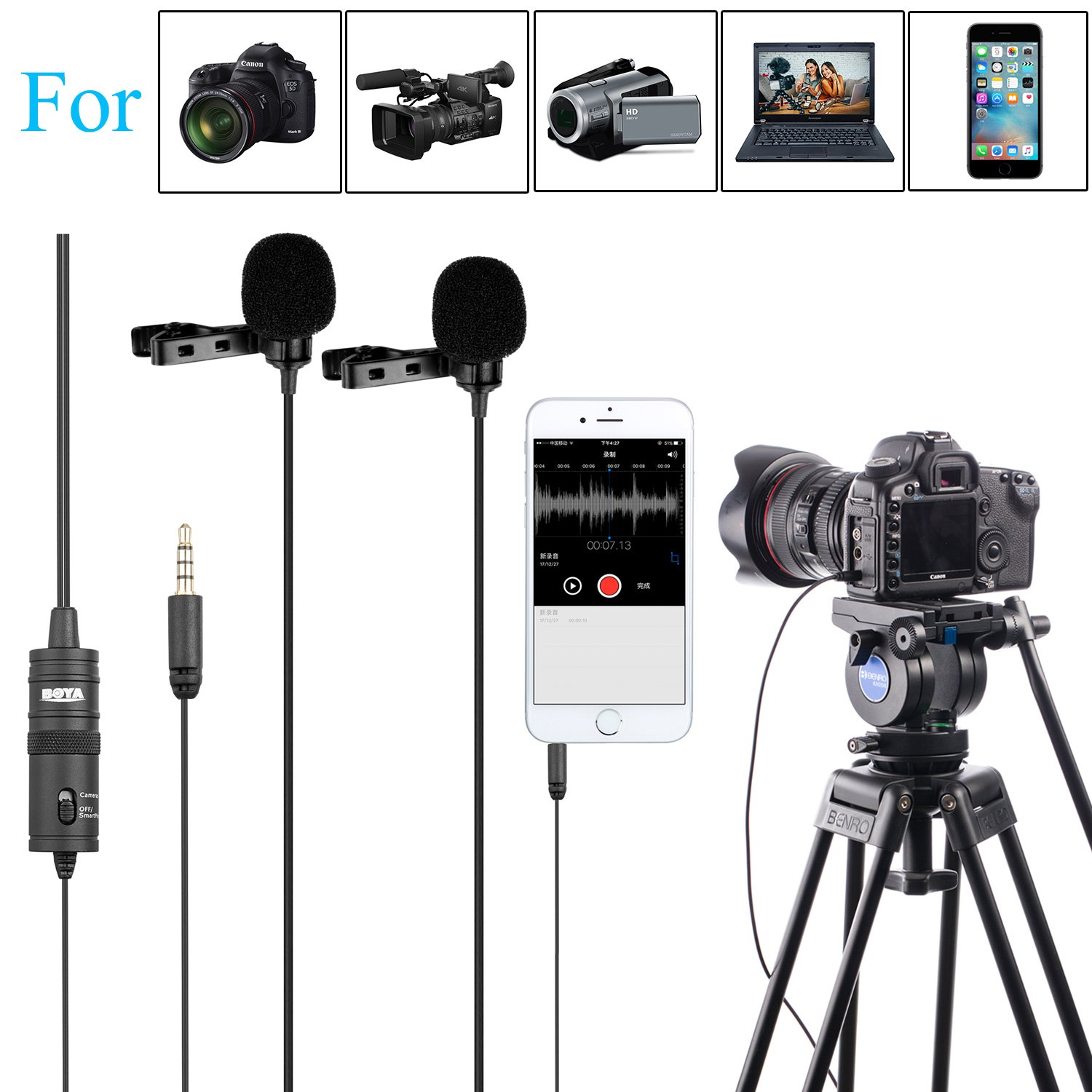 157'' BOYA BY-M1DM Dual-head Lavalier Universal Lapel Microphone with 1/8 Plug Adapter for iPhone 8 7 Smartphones Canon Nikon DSLR Cameras Camcorders PC Audio Recorder Podcast Youtube Video Livestream BY-0M1DM