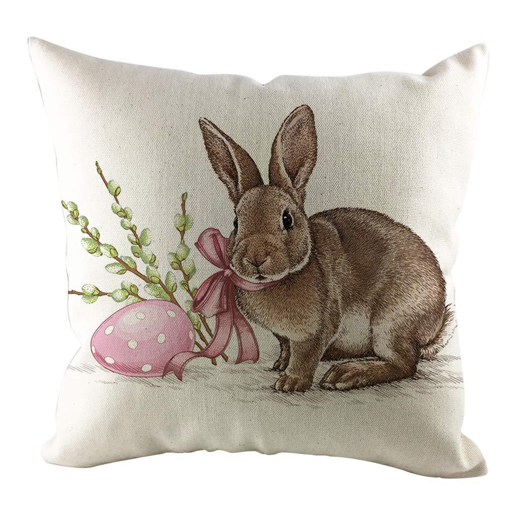 Sikye Print Throw Pillow Case Cartoon Rabbit Pillowslip Cushion Cover for Sofa Bedroom Car Easter Decoration (A)