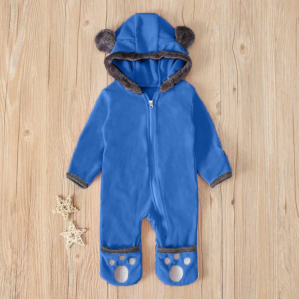 Infant Baby Kids Jumpsuit Girls/&Boys Cartoon Hooded Romper Zip Fleece Clothes UK