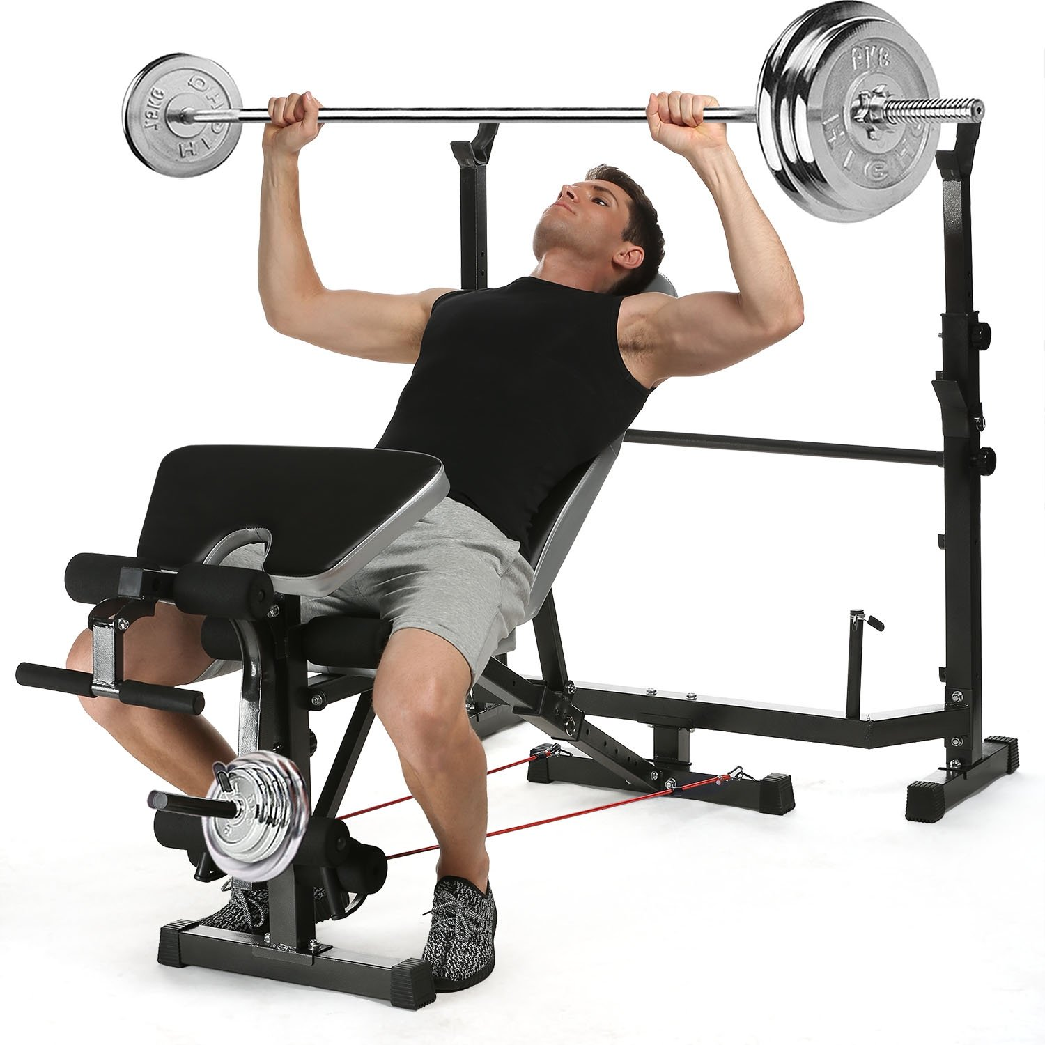 Lantusi Proffesional Fitness Home Use Weight Bench Multi-Function Adjustable Squat Rack for Indoor Exercise(US STOCK)
