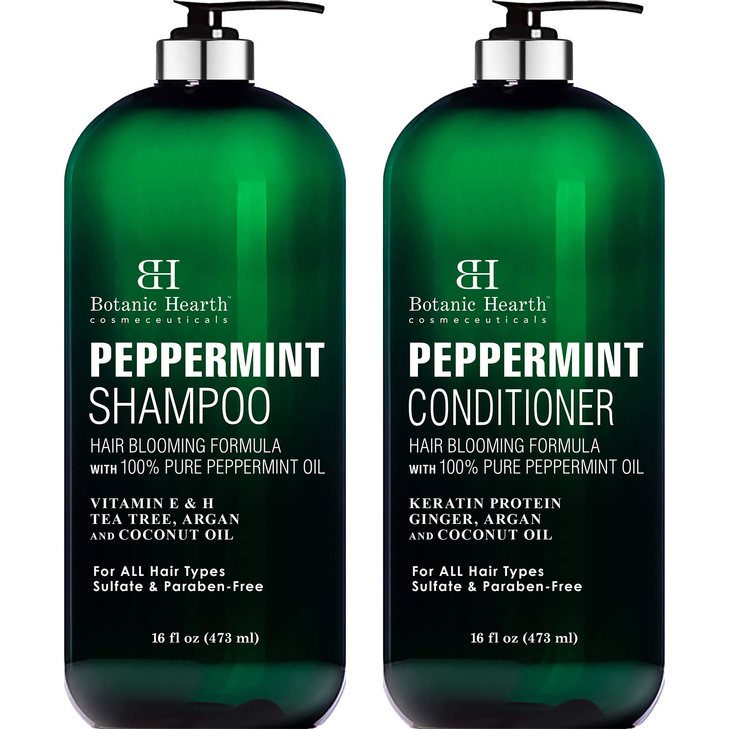 BOTANIC HEARTH Peppermint Oil Shampoo and Conditioner Set - Hair Blooming Formula with Keratin for Thinning Hair - Fights Hair Loss, Promotes Hair Growth-Sulfate Free for Men and Women - 16 fl oz x 2 by Botanic Hearth
