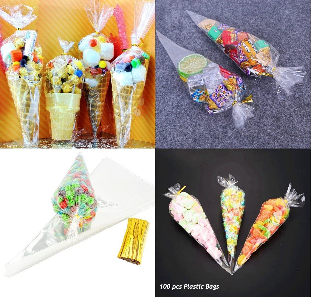 Crystal Clear Cello// Cellophane Polypropylene 25.5cm x 10.1cm 100 Pcs Golden Leaf Cone Shaped Treat /& Favor Bags Small Size: 10 x 4