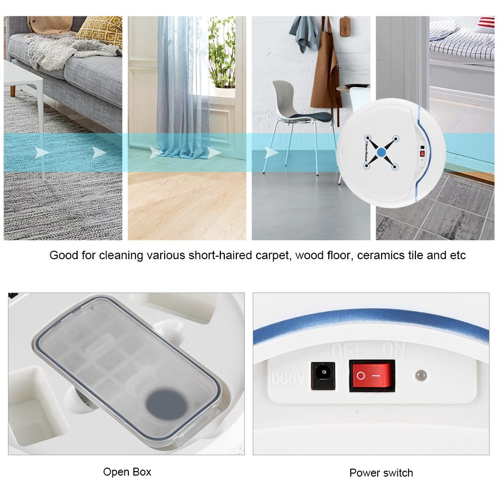 Lazmin Sweep Robot Automatic Floor Cleaner White USB Rechargeable Home Cleaning Smart Robot Vacuum Cleaner Sweeping Machine